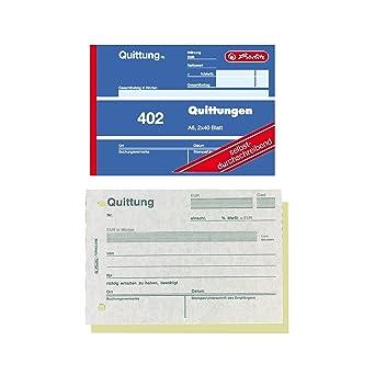 Herlitz 7876147 Quittungsblock A6 402 2x40 Blatt 4er Packung