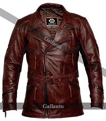 e4b64e92404 Gallanto 3/4 Vintage Red Distressed Eddie Mens Motorcycle Biker Long Leather  Jacket Wine (