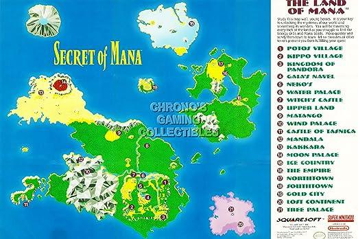 secret of mana karte Nintendo CGC Huge Poster GLOSSY FINISH   Secret of Mana Super SNES