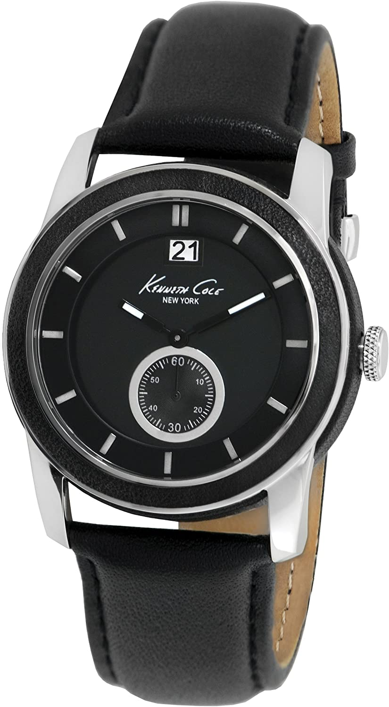 Kenneth Cole New York Men s Japanese Quartz Stainless Steel Case Leather Strap Black, Model KC1856