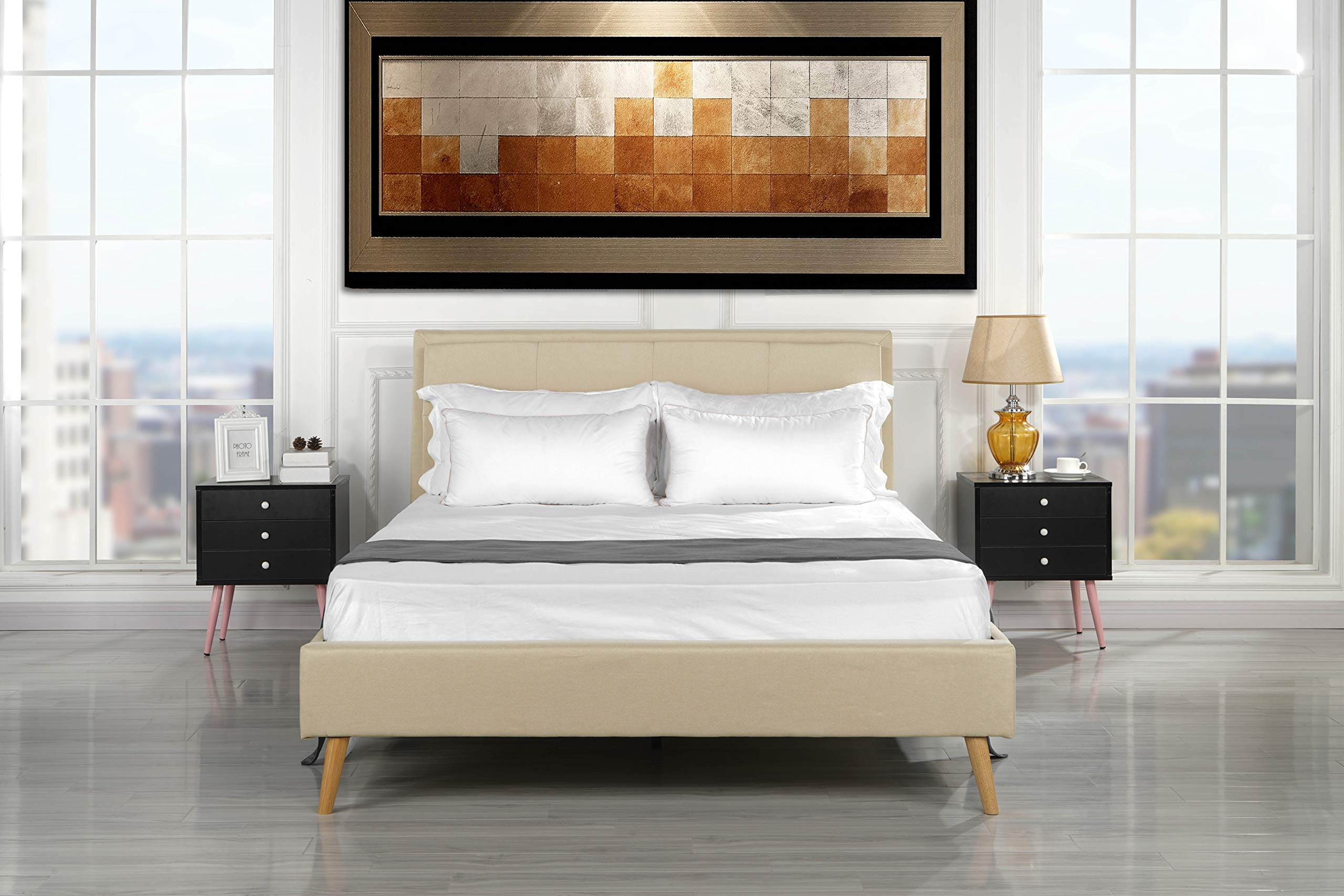 Mid Century Modern Upholstered Bed Frame with Tufted Headboard (King, Beige)