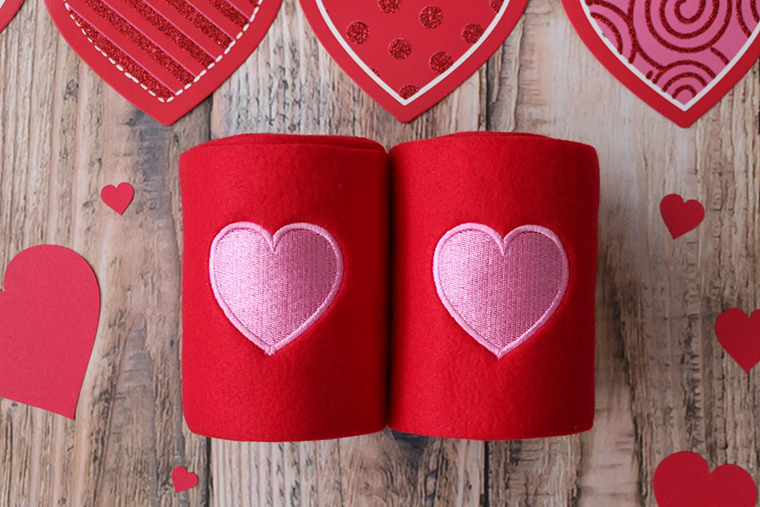 Set of 4 Red Base Embroidered Pink Heart Valentines Day Polo Wraps//Stable Wraps