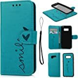 S8 Case Leather ,Galaxy S8 Case Wallet Embossed Smile Love Design PU Leather Flip Case Detachable TPU Cover Magnetic Wallet with Card Slots & Wrist Strap Case for Samsung Galaxy S8 - Blue