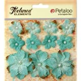 "Petaloo Textured Elements Burlap Mini Flowers (11 Pack), .75"" to 1.5"", Teal"