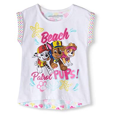 b80bd565ad668 Paw Patrol Beach Patrol Pups! Little Toddler Girls Printed Back T-Shirt (2T