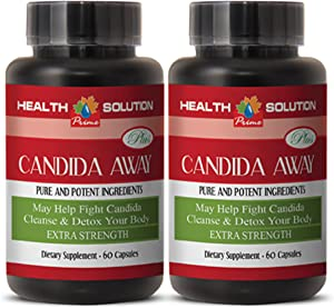 Natural Detox Pills - Candida Away Plus - Candida Quick Cleanse - 2 Bottles 120 Capsules