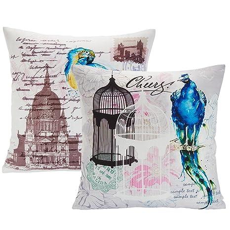 2 Fodere per cuscino Avanzza, 40 x 40 cm, per cuscino decorativo, linea Shabby Chic