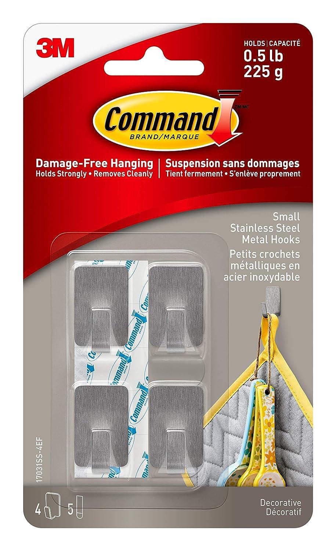 Command 17032C-4EF Small Metallic Hooks, Copper Color, 4 Hooks 5 Strips 3M 17032C-4ES