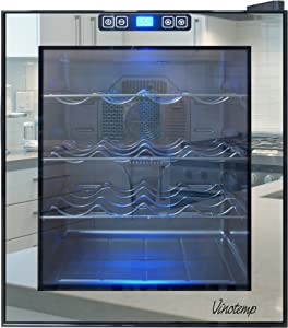 Vinotemp VNTVT-16TSBM 16-Bottle Mirrored Thermoelectric Wine Cooler