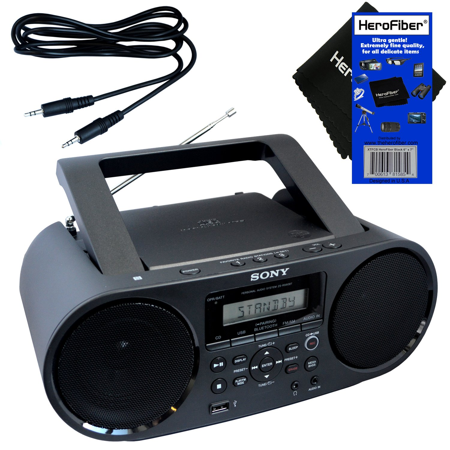 Sony Bluetooth & NFC (Near Field Communications) MP3 CD/CD-R/RW Portable MEGA BASS Stereo Boombox with Digital Radio AM/FM tuner & USB Playback + Auxiliary Cable & HeroFiber Gentle Cleaning Cloth by HeroFiber