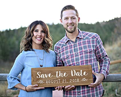 Amazon Com Custom Save The Date Sign Engagement Photo Prop Wood