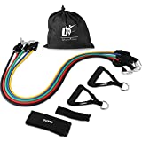 Utopia Fitness Resistance Band 5 Set Home, Gym Outdoor Workouts Door Anchor, Ankle Strap & Mesh Carrier - Athletic Handy
