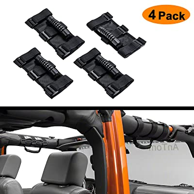 AnTom Jeep Wrangler Roll Bar Grab Handles, Grip Handle for Jeep Handles Wrangler JL Accessories, Fits 1955-2020 Models JK JL JKU CJ CJ5 CJ7 YJ TJ: Automotive