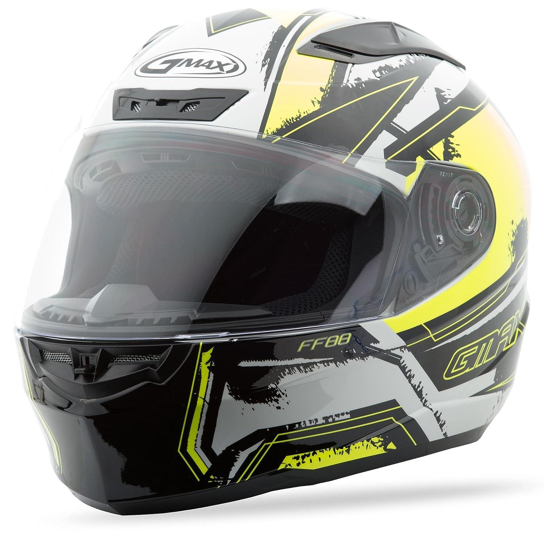 GMAX Unisex-Adult Style G1881686 TC-24 Ff88 Full Face X-Star Helmet White//Hi-Vis Yellow l Large G1881686TC-24