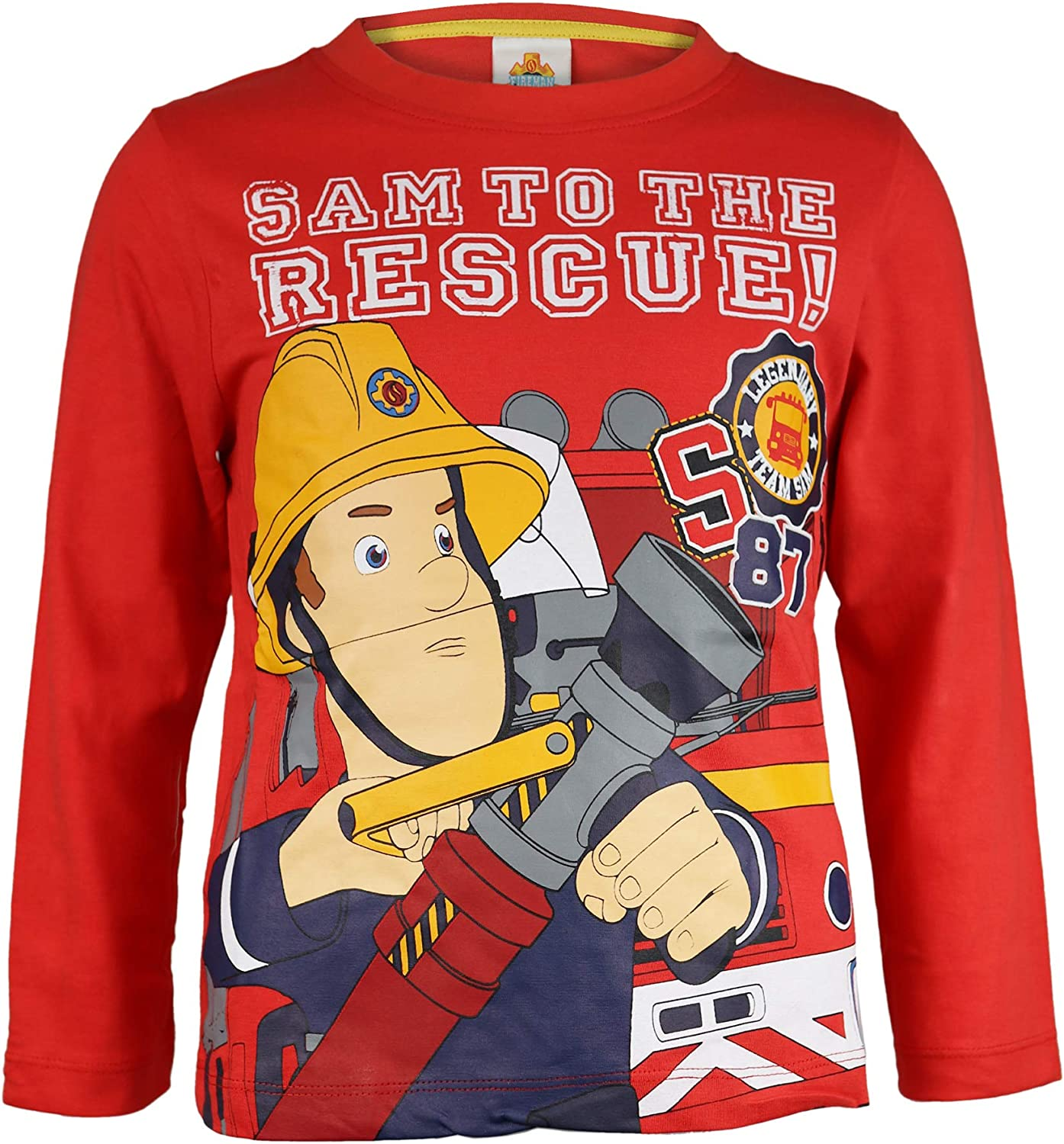 Official Merchandise Fireman Sam to The Rescue Boys Long Sleeve T-Shirt