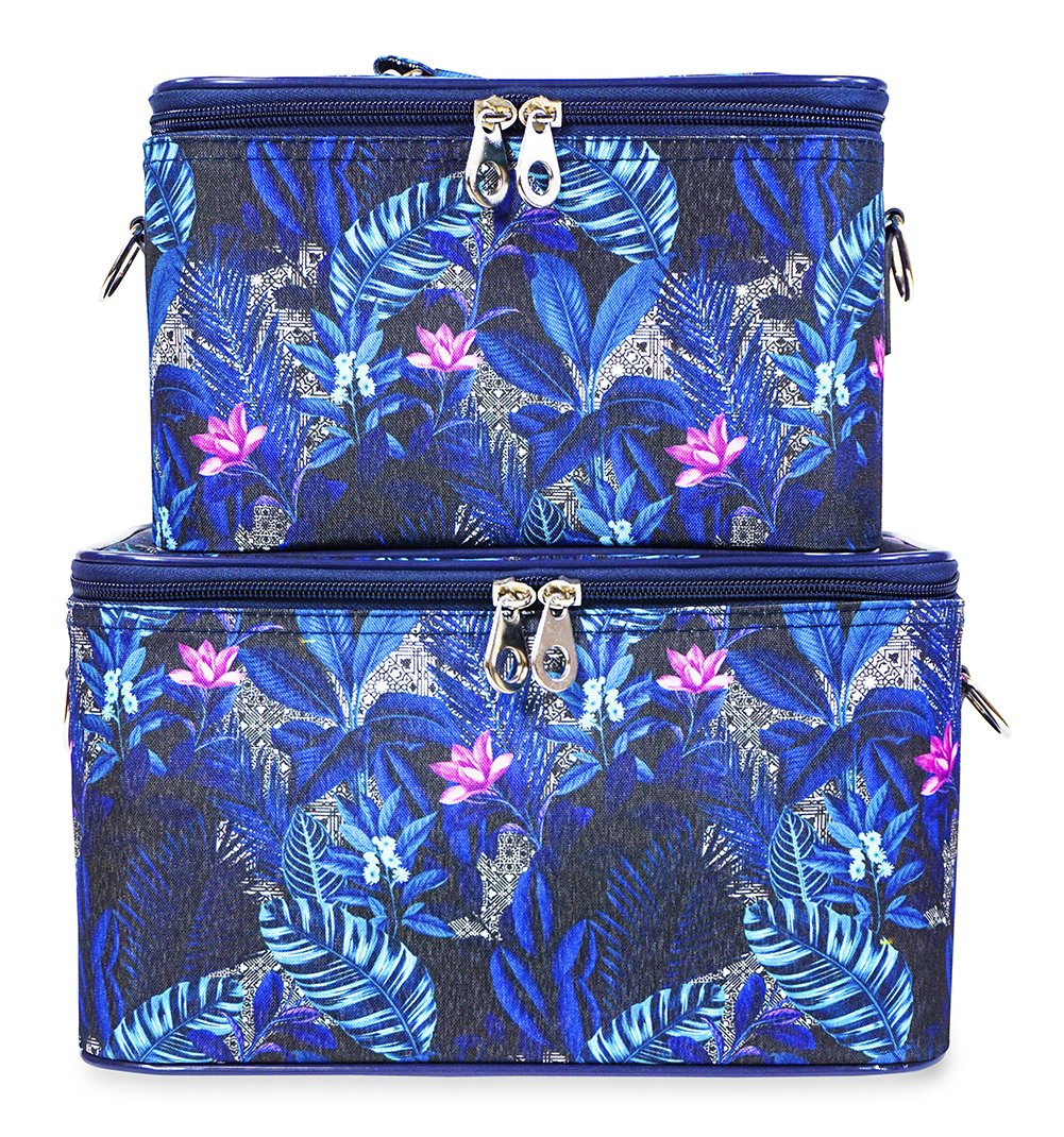 Jenzys Cosmetic Train Case Set (Floral - Blue)