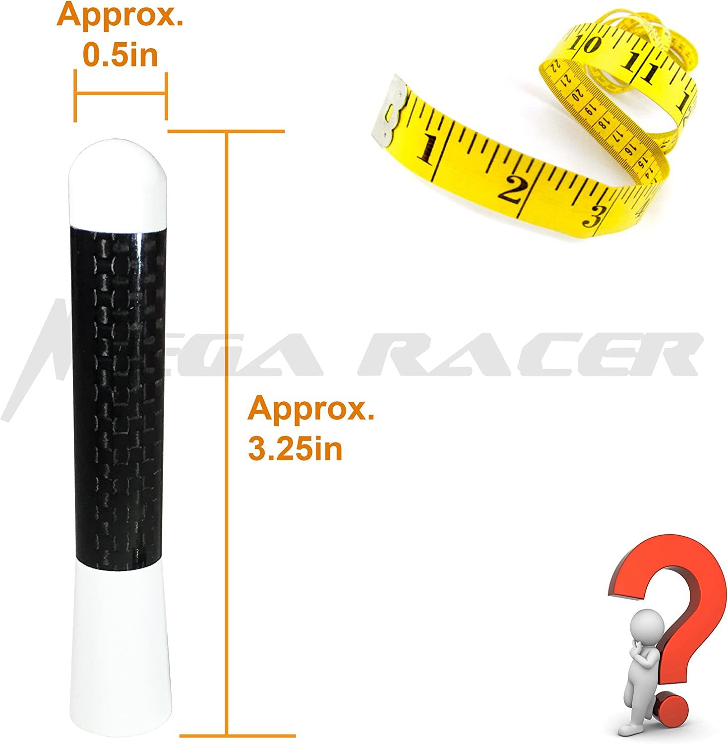 83 mm Real Carbon Fiber Screw Type Short Stubby Antenna Replace Auto Car SUV Mega Racer 1 x Nismo Style White 3.25 in