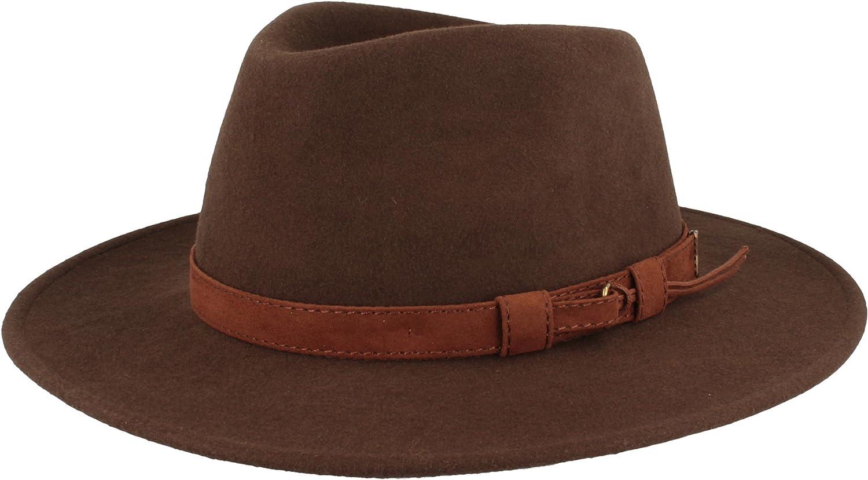 Hut Breiter Sombrero de Fieltro | Sombrero Fedora | Sombrero de Lana | 100% Lana de Fieltro – Resistente al Agua - Enrollable y Flexible.