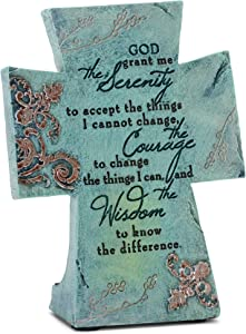 Serenity Prayer Aqua Filigree 4 x 6 Resin Stone Table Top Cross Decoration