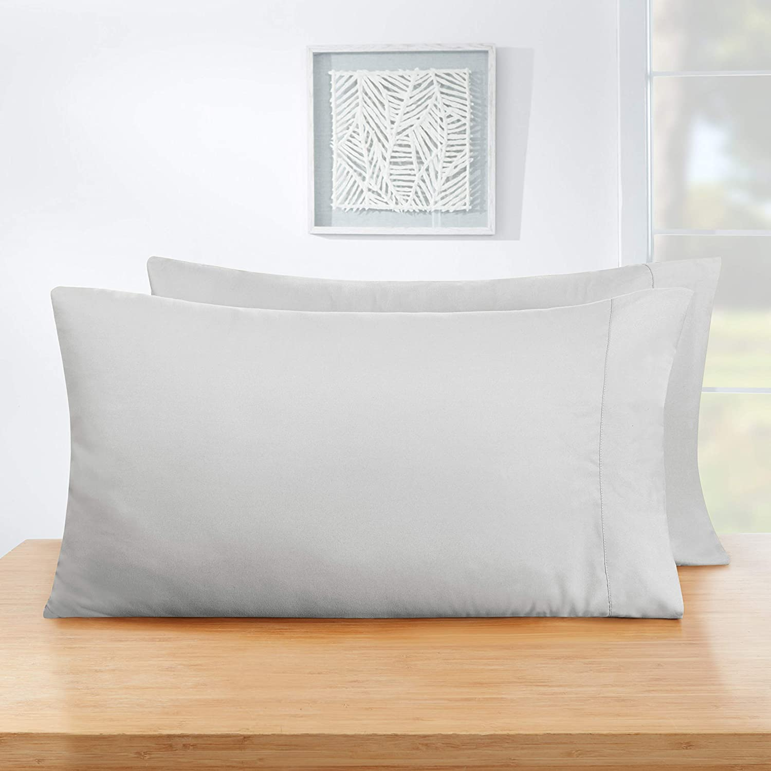 Empyrean Bedding Soft Pillow Cases - Double Brushed Microfiber Hypoallergenic Pillow Covers - Premium Bed Pillow Cases - Luxury Hotel Pillowcases - Standard Size, Set of 2 - Silver