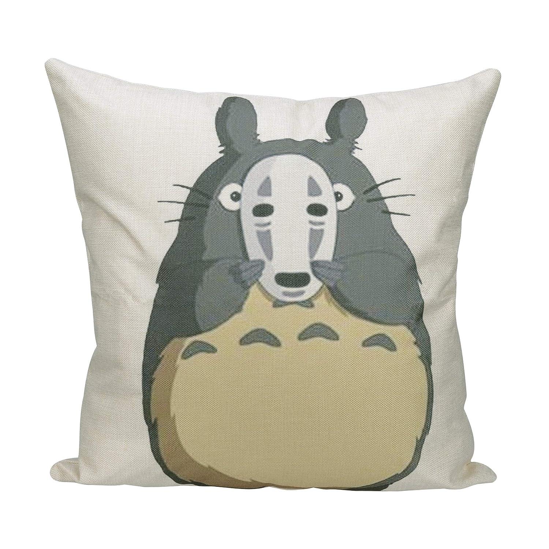 Elviros Lino y Algodón Blend Decorativo Funda de Cojínes 45x45 cm [18x18 Pulgadas]-Totoro y máscara de No Face
