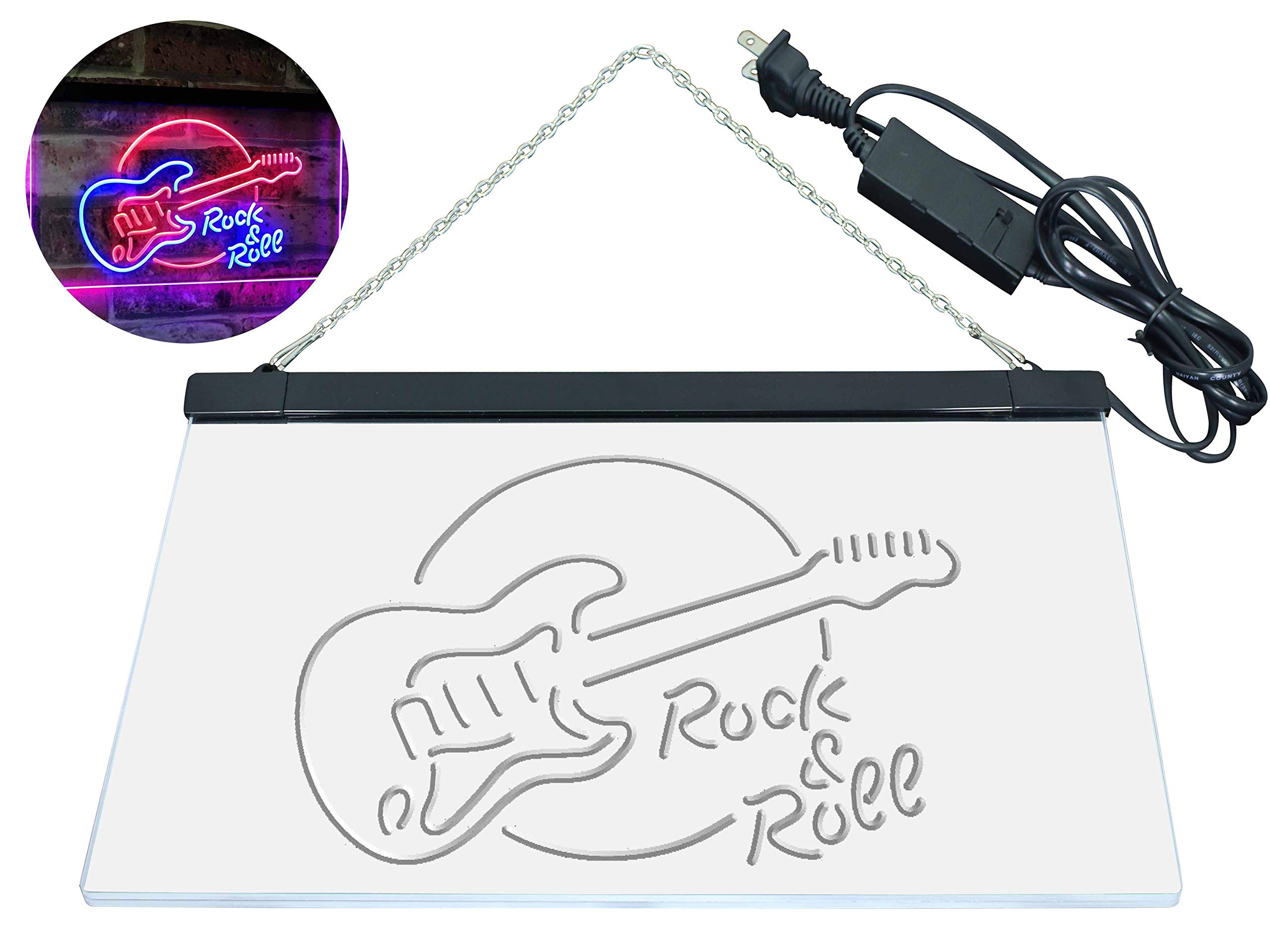 AdvpPro 2C Rock & Roll Electric Guitar Band Room Music Dual Color LED Neon Sign Blue & Red 12'' x 8.5'' st6s32-i2303-br