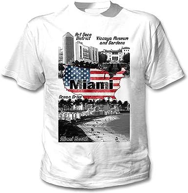 teesquare1st Miami Beach USA Camiseta Blanca para Hombre de Algodon: Amazon.es: Ropa y accesorios