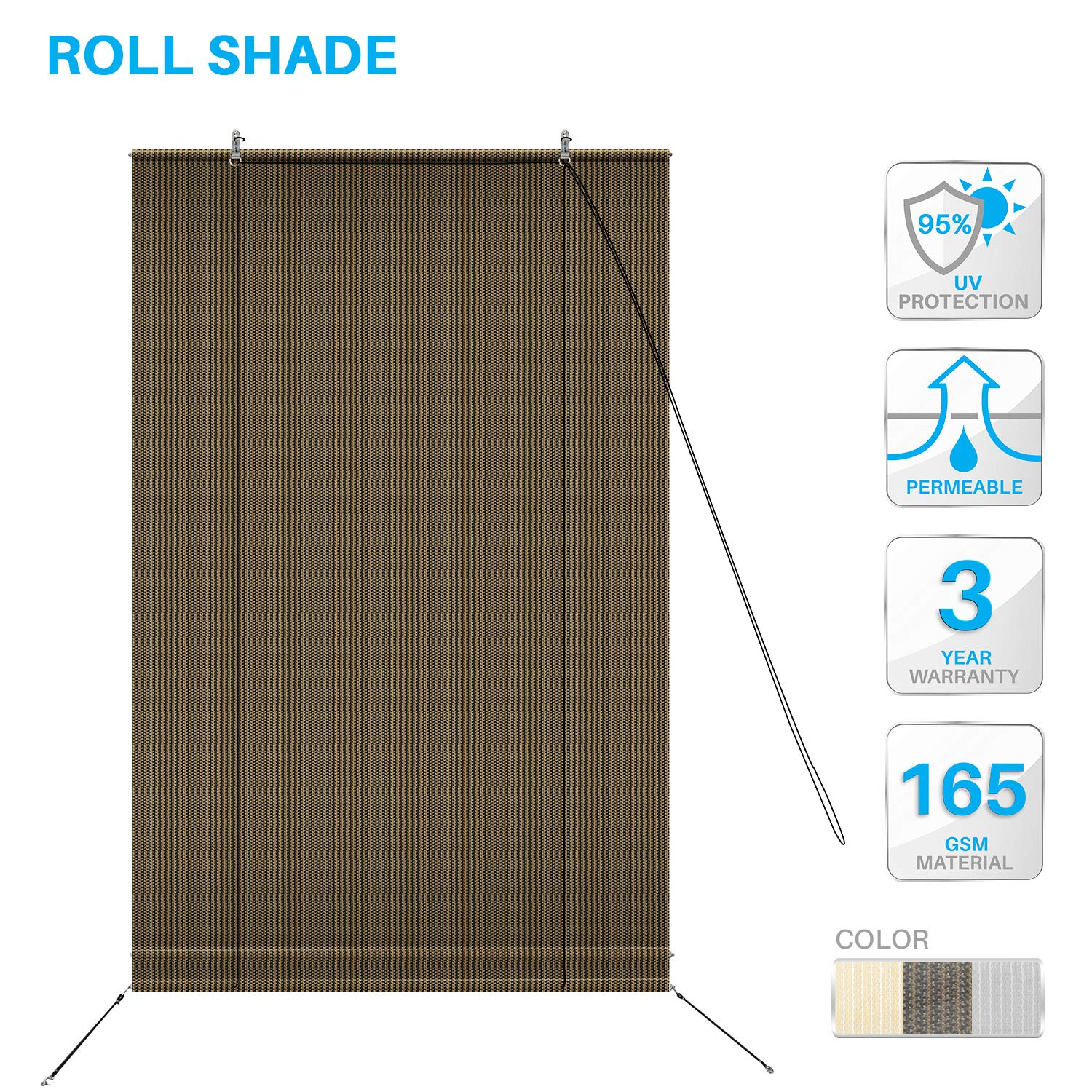 PATIO Paradise Roll up Shades Roller Shade 7'Wx5'H Outdoor Shade Blind Pull Shade Privacy Screen Porch Deck Balcony Pergola Trellis Carport Brown