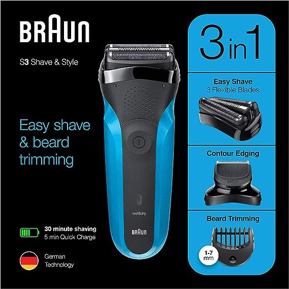 Braun Series 3 Shave & Style 310BT - Afeitadora eléctrica para barba (tecnología Wet & Dry), color negro y azul ...