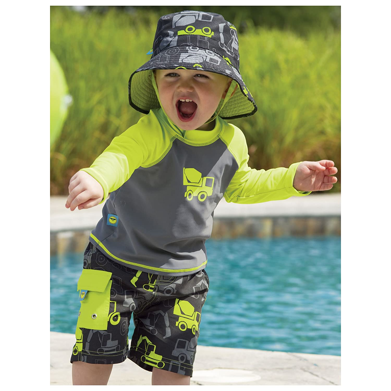Sun Smarties Baby UPF 50 Nautical Swim Trunks with Swim Diaper 12M Green Stripe