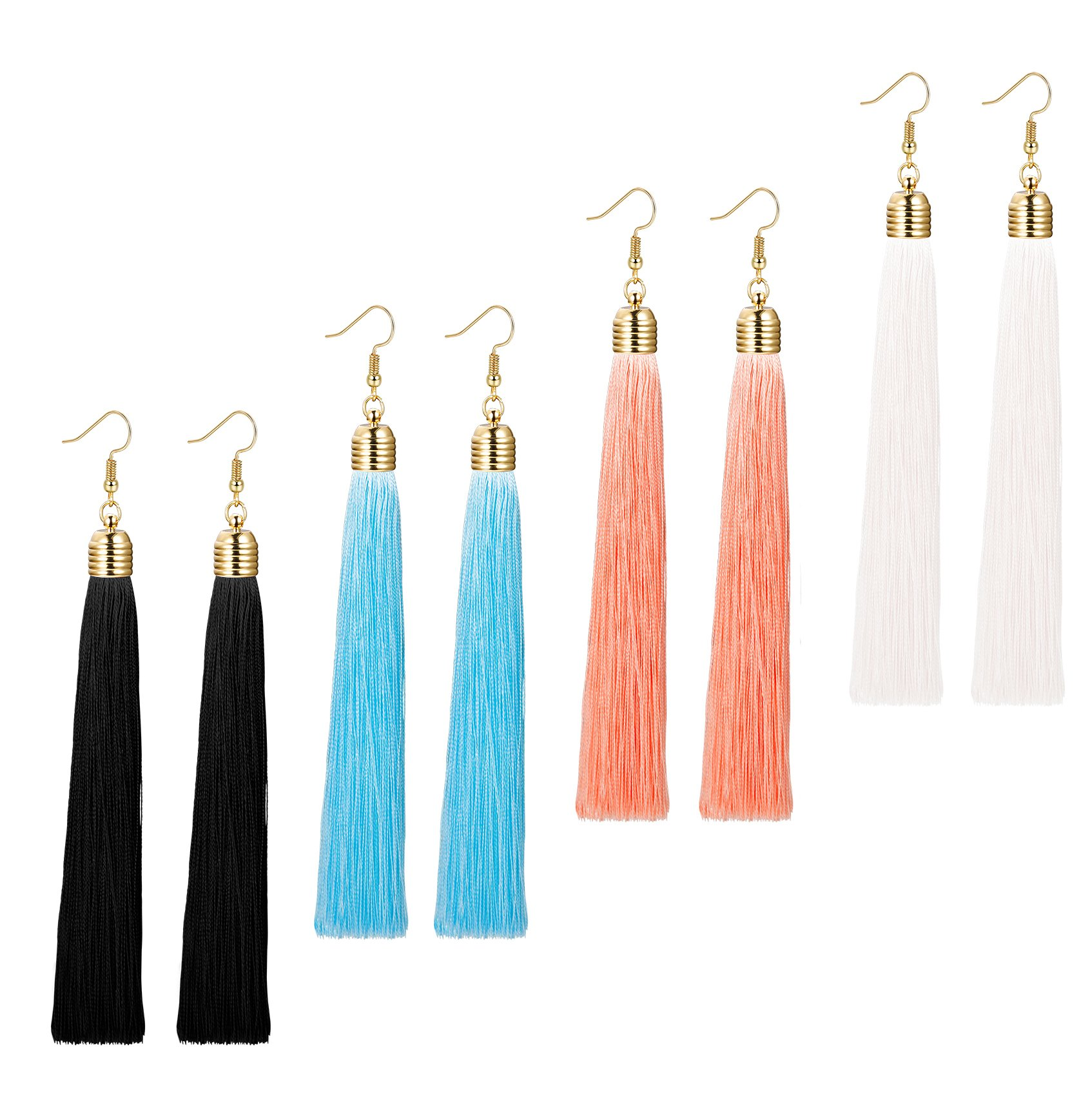 LOYALLOOK 1-3 Pairs Tassel Earrings Set Long Dangle Earrings for Women Black/Blue/Red Tassel (4 Pairs)
