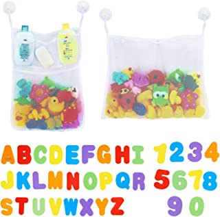 BBLIKE 2 x Mesh Baby Bath Toys Storage + 6 Ultra Strong Hooks + 36 Bath Letters & Numbers Bathroom Shower Organizer for Toys, Shampoo & Soap Perfect Toy Storage Net for Baby Bath Toys