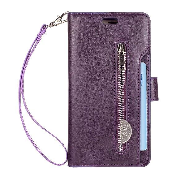 big sale fd838 92dfd Galaxy J3 Emerge Wallet Case,J3 Eclipse/J3 Prime/J3 Mission Case,Premier PU  Leather [9 Card Slots] Zipper Flip Kickstand Cover Case with Wrist Strap ...