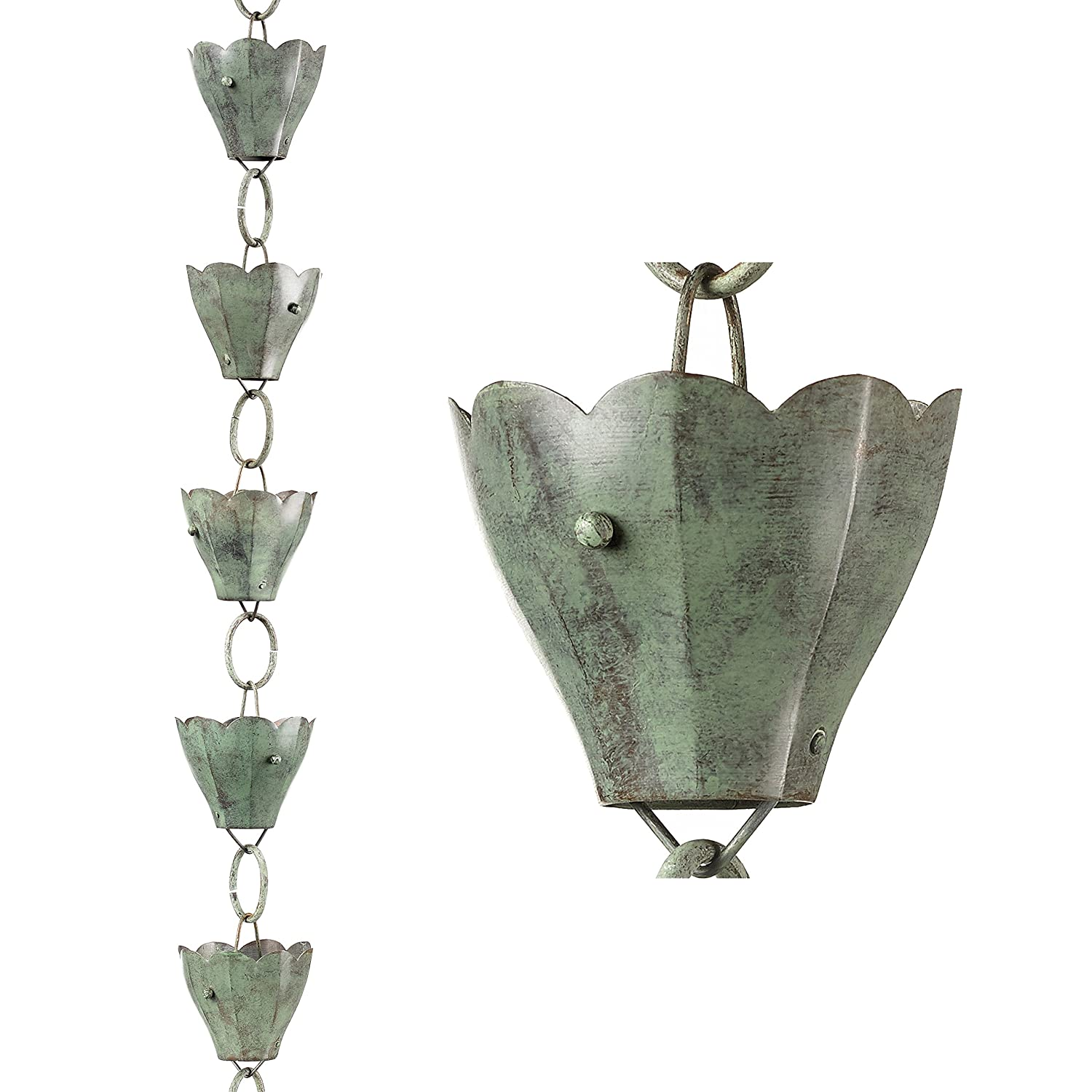 Good Directions 463P-8 13 Cup Tulip Rain Chain, 8-1/2', Polished Copper 8-1/2'