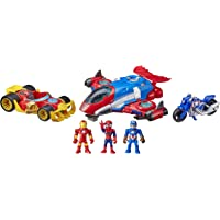 Marvel Super Hero Adventures Figure and Jetquarters Vehicle Multipack, 3 Action Figures and 3 Vehicles, 5-Inch Toys for…