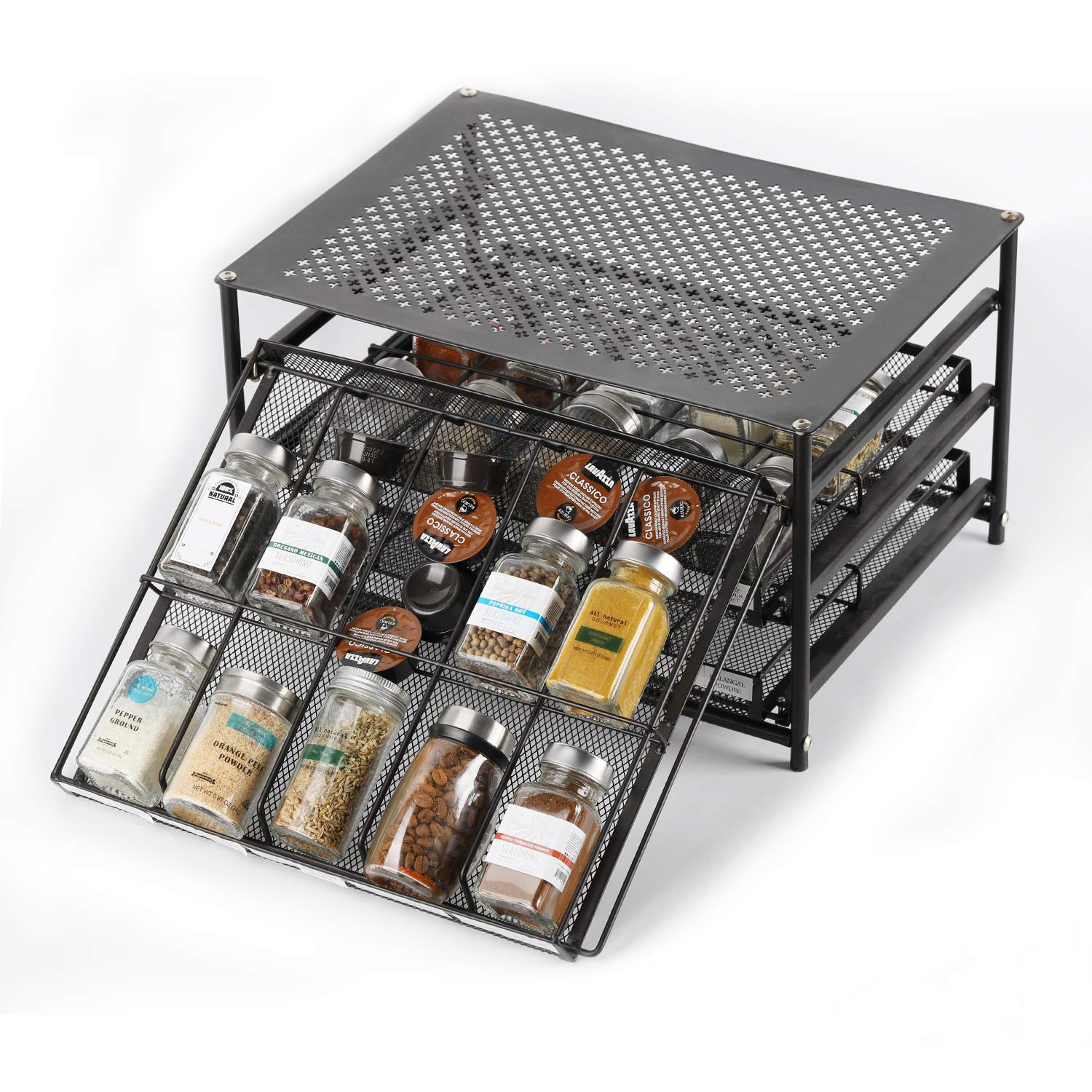 Spice Rack Organizer for Cabinets Storage, Pull Out Spice Drawer Kitchen Organization Containers for 30-60 Glass Bottle, Slide Out Cabinet for Pantry, Makeup, Nail Polish, Medicine, Dark Brown by CASAVIDA