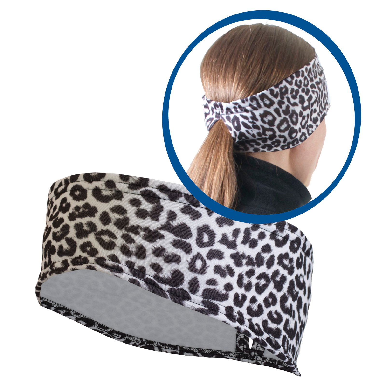 TrailHeads Women's Print Ponytail Headband – 12 prints - Made in USA - snow leopard