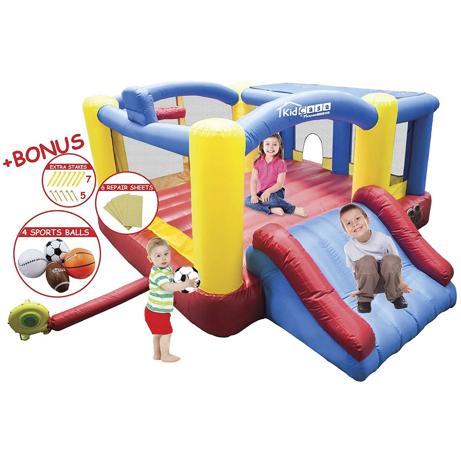PicassoTiles [Upgrade Version] KC102 12x10 Foot Inflatable Bouncer Jumping Bouncing House, Jump Slide, Dunk Playhouse w/ Basketball Rim, 4 Sports Balls, Full Size Entry, Extended Slider, 525W Blower