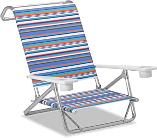 product image for Telescope Casual Striped Original Mini-Sun Anodized Sliver Finish Chaise, Atlantic Blue