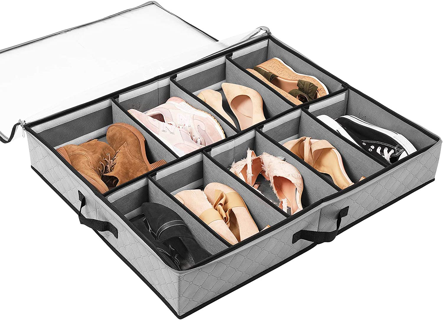 SOLEDI Under Bed Storage Containers for Shoe Storage Can be Stored Under the Bed and the Top of the Closet, Sturdy Large-Capacity Shoe Storage Box with a Transparent Window, 1 Pack