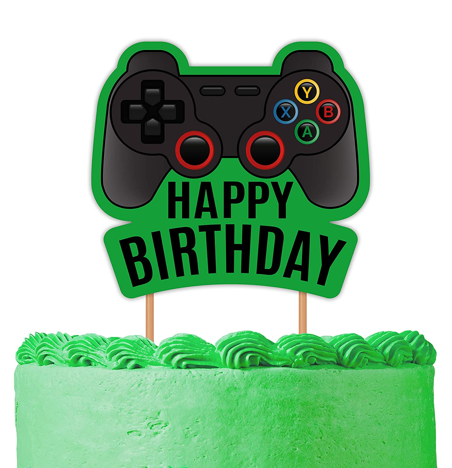 Glittery Happy 13th Birthday Video Gaming Cake Toppers for 13 Year Old Boy and Kids Video Game Themed Birthday Decorations Game Fans Party Favors Video Game Cake Topper