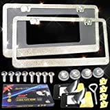 Glass Crystal License Plate Frames - 2 Pack Handcrafted Bling Sparkly Rhinestone Stainless Steel Metal License Plate…
