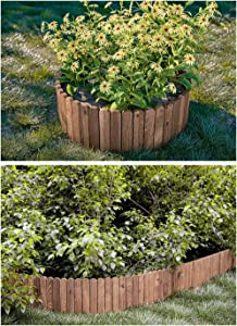 Erwazi Landscape Edging Garden Edging, Garden Border Garden Edging Border Flower Bed Edging Borders, Log Roll Lawn Edging, 18in 6 Pack Half Log Edging (Brown)