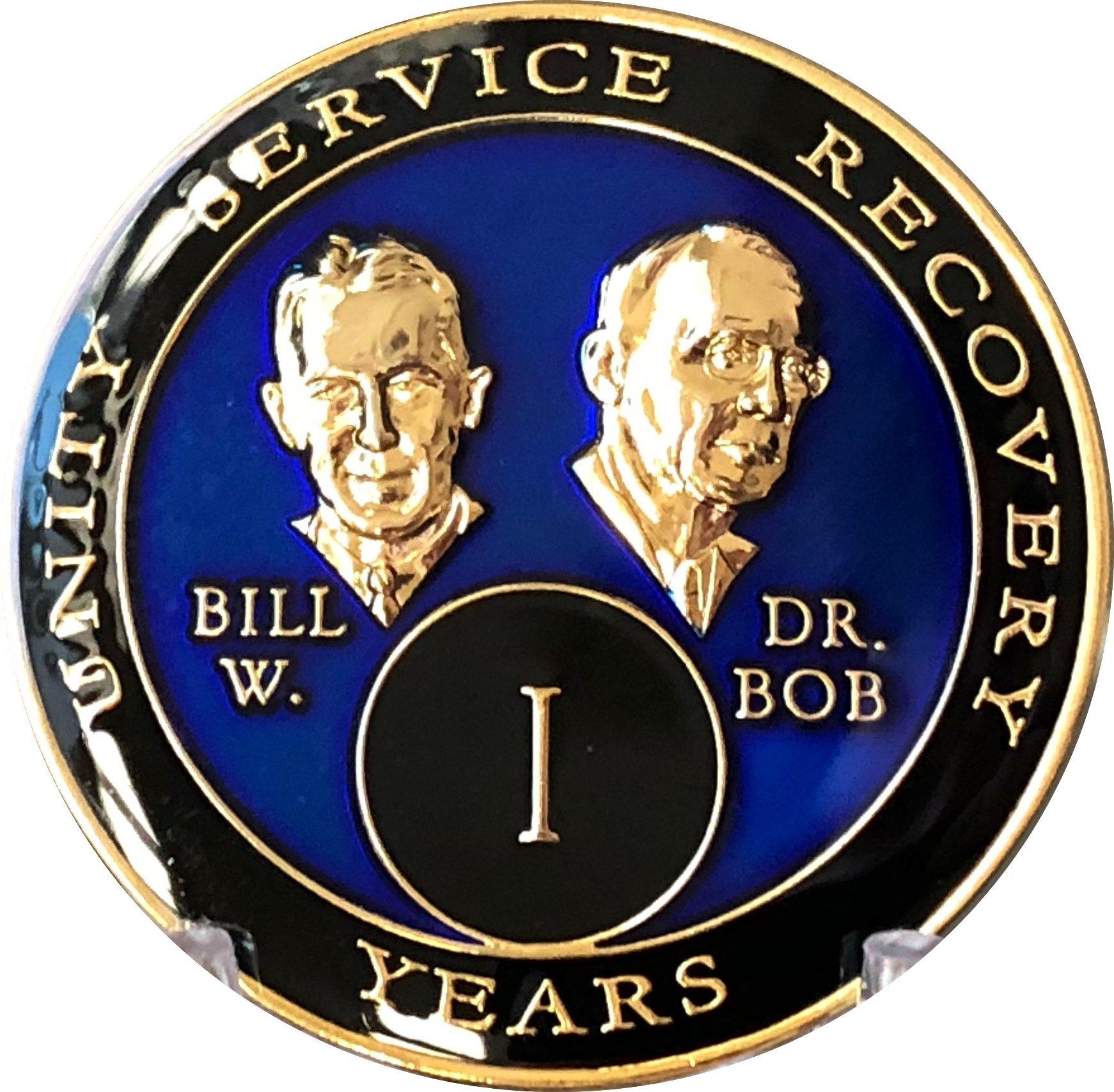 1 Year Founders Blue Tri-Plate AA Medallion Bill & Bob Chip