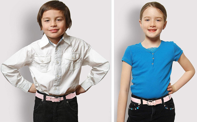 Denim Blue Kids Elastic Adjustable Strech Belt with Leather Closure