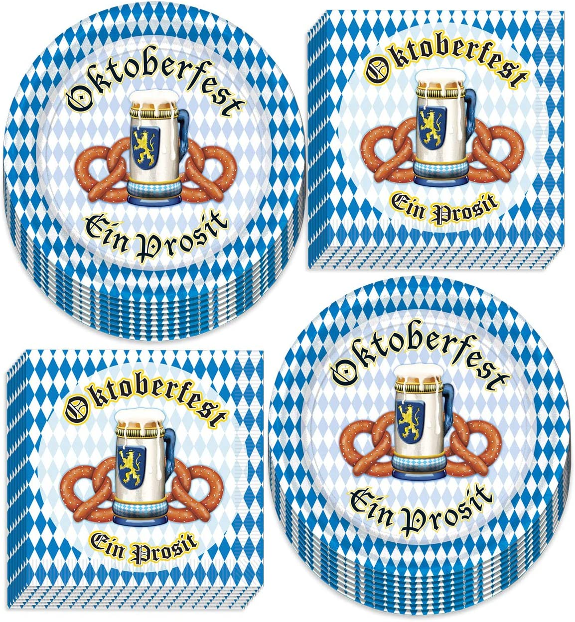 Oktoberfest Party Supplies - Blue and White Checkered Pretzel Paper Dessert Plates and Beverage Napkins (Serves 16)