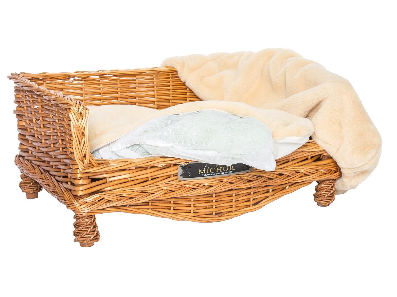 cesta del perro Cama del perro sauce cesta del gato cama del gato MICHUR LINDA COGNAC mimbre BEIGE