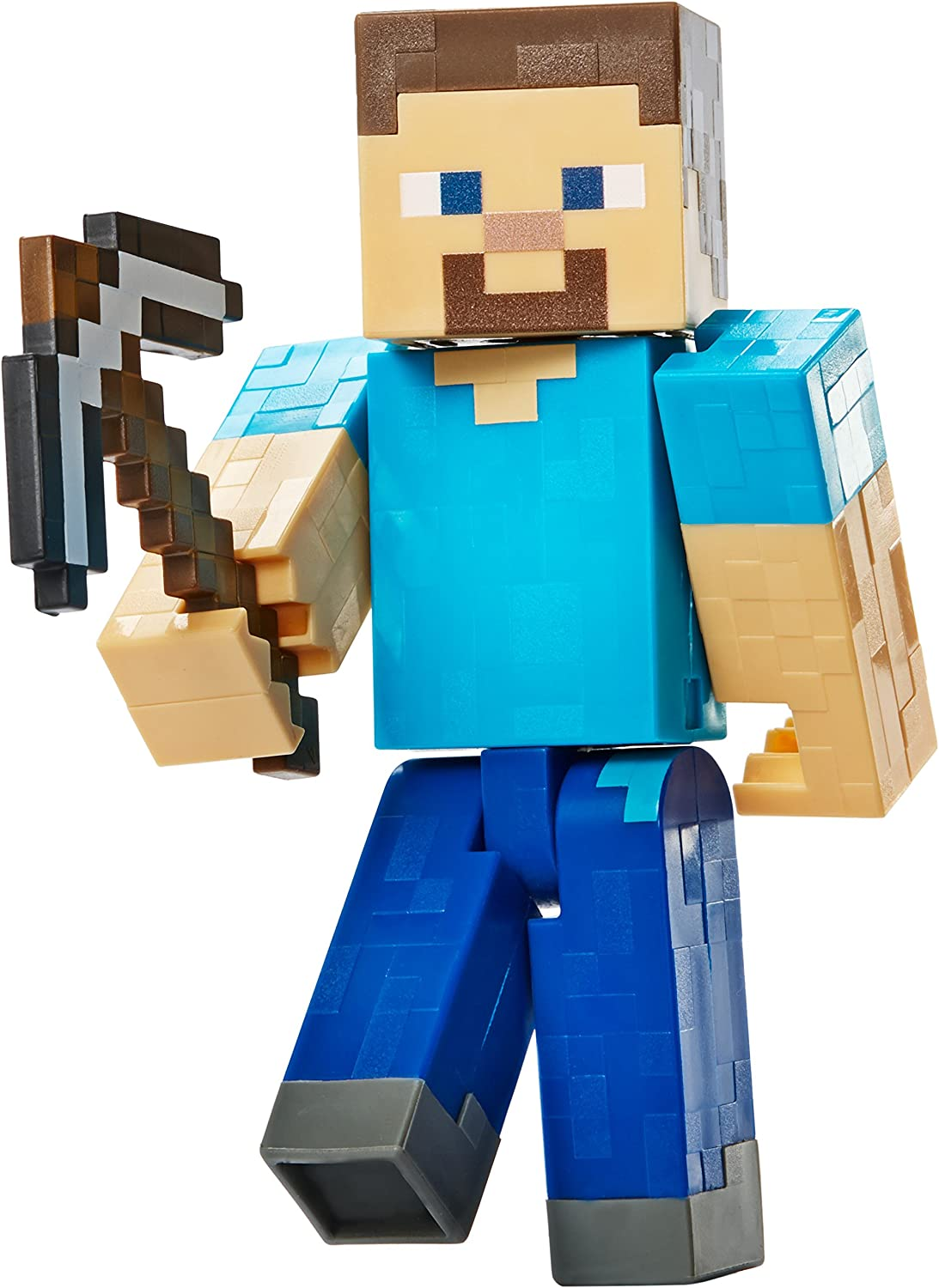 Amazon Com Minecraft Steve With Pickaxe Basic Figure Toys Games
