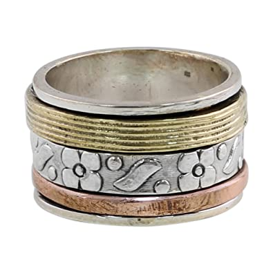 Novica Sterling silver band ring, Meditation and Balance