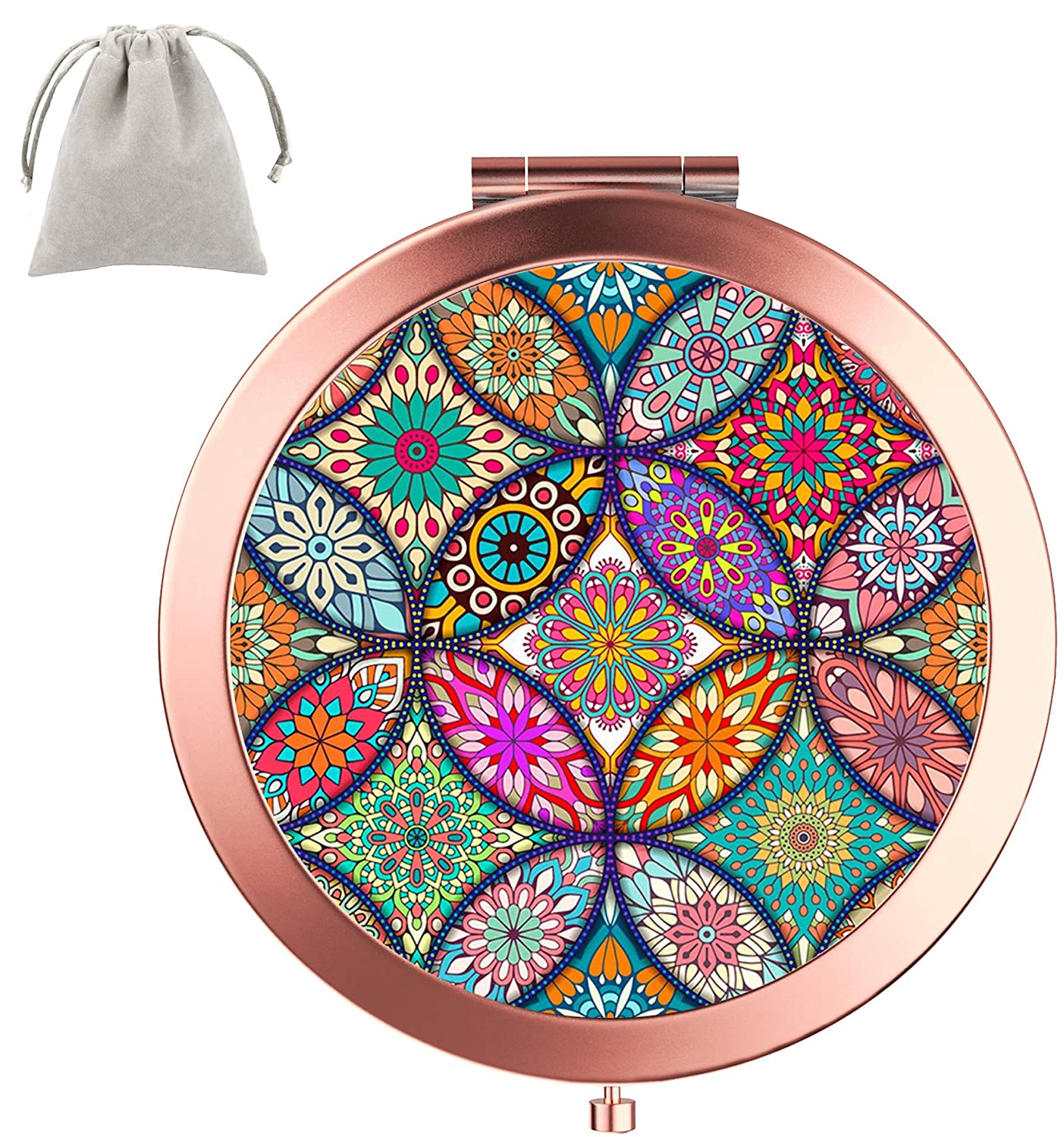 Dynippy Compact Mirror Round Rose Gold MakeUp Mirror Folding Mini Pocket Mirror Portable Hand Mirror Double-sided With 2 x 1x Magnification for Woman Mother kids Great Gift mandala